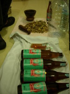 the mixture was (arbitrarily) enough for 4 bottles of Lao Khao, with two tubes of honey.
